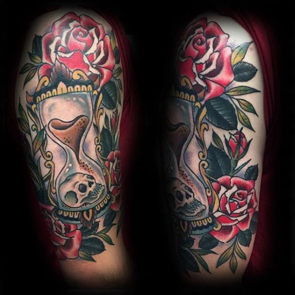 Guys Arm Traditional Hourglass Rose Flower Skull Tattoos