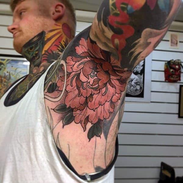 Guys Armpits Brown Flowers Tattoo