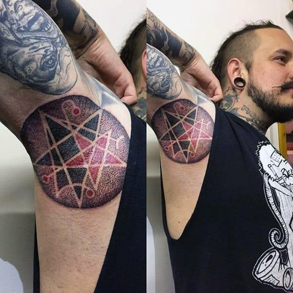 Guys Armpits Dotted Star Design Tattoo