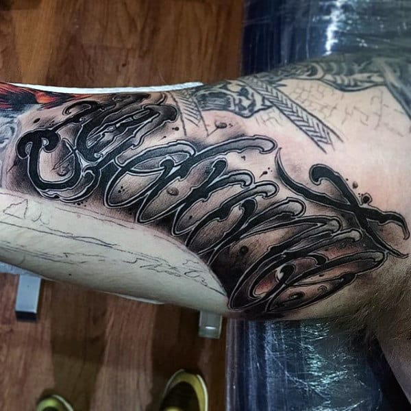 Guys Arms Amazing Lettering Tattoo