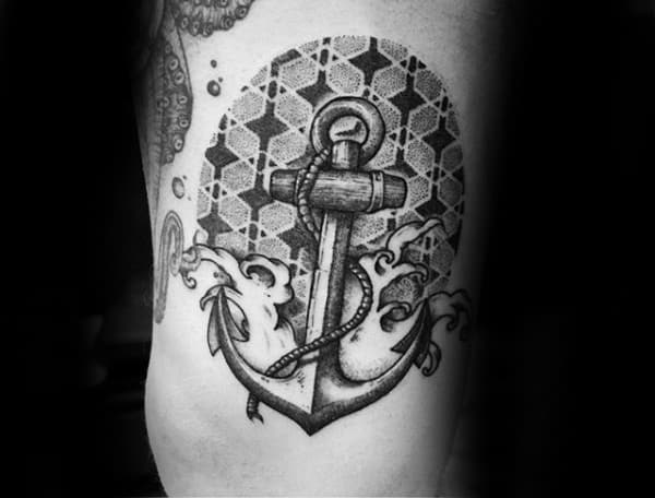 Guys Arms Anchor Pattern Tattoo