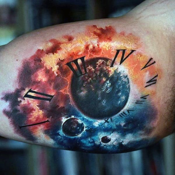 Guys Arms Astronomy Clock Tattoo