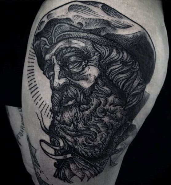 Guys Arms Bearded Man With Turban On Book Tattoo
