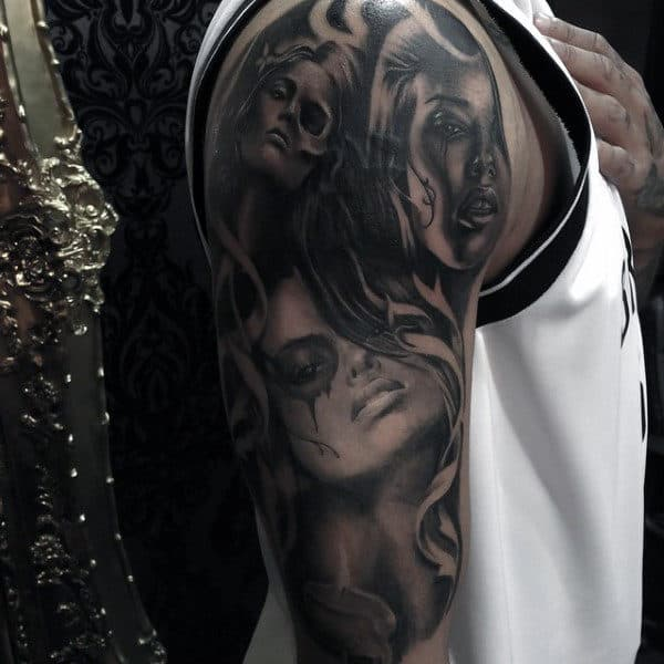 Guys Arms Black And Grey Tattoo Of Bloody Eyed Women