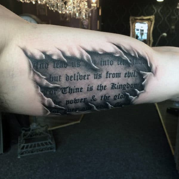 Guys Arms Black And Grey Wordings Tattoo