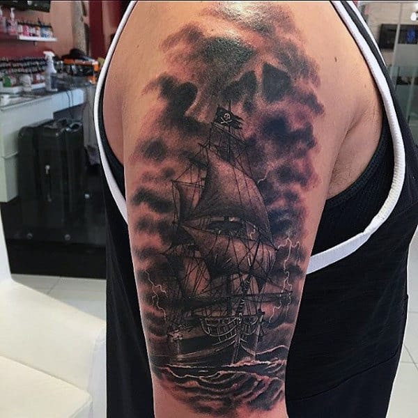 Guys Arms Black And White Sailing Ship Tattoo