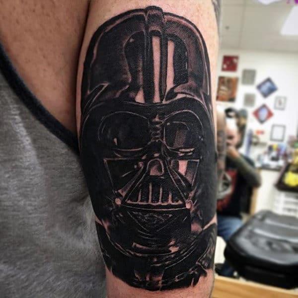 Guys Arms Black Darth Vader Tattoo