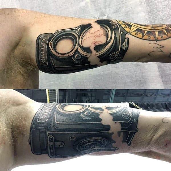 Guys Arms Broken Camera Tattoo