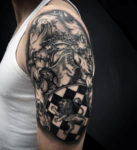 Guys Arms Cool Royal Symbols And Chekered Board Tattoo