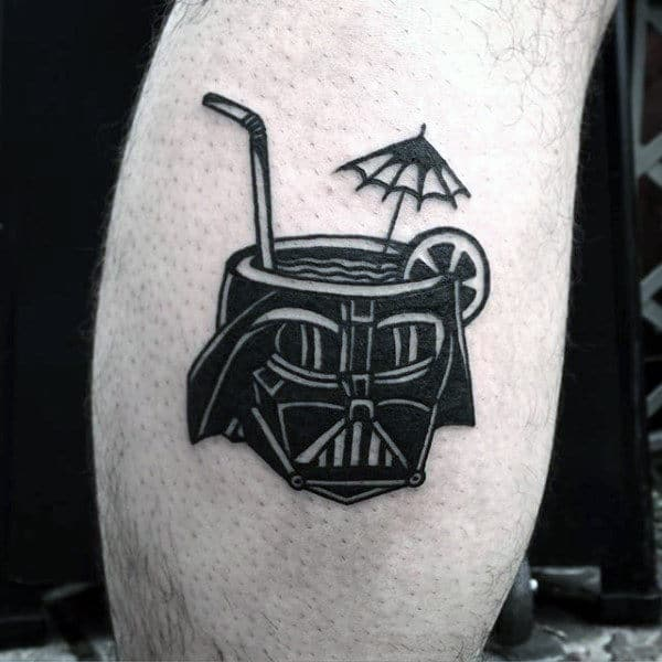 Guys Arms Darth Vader In Cup Tattoo