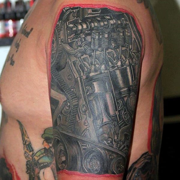 50 Engine Tattoos For Men - Motor Design Ideas
