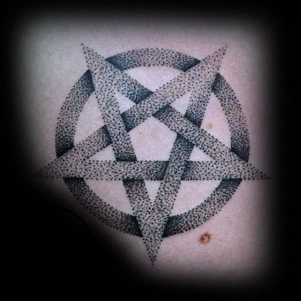 Guys Arms Dotted Grey Pentagram Tattoo