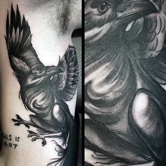 Guys Arms Dusty Grey Raven Tattoo
