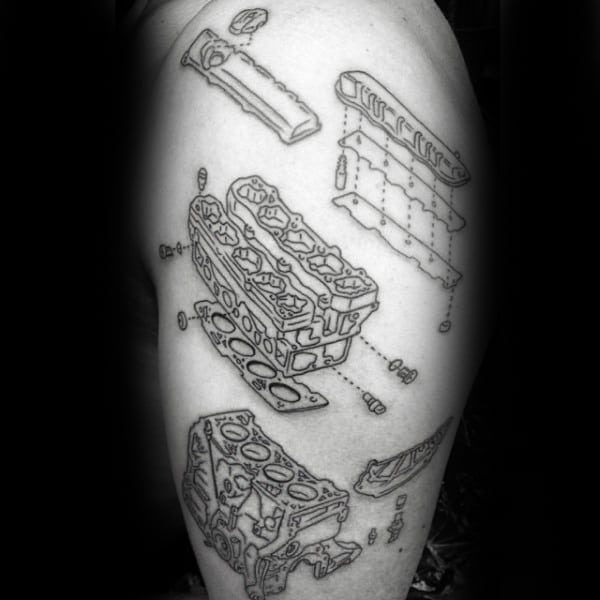 Guys Arms Engine Drawing Diagram Tattoo