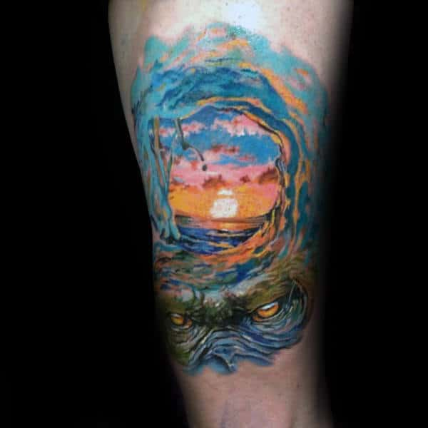 Guys Arms Evil Eyes Sunset Over Surf Tattoo