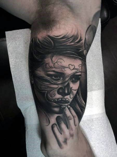Guys Arms Expressive Girl Day Of The Dead Tattoo
