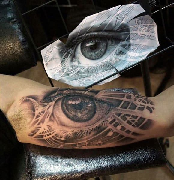 Guys Arms Extremely Real Black Eye Tattoo