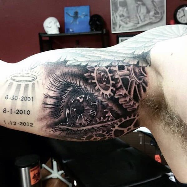 Guys Arms Eye Tattoo With Mechanical Gears
