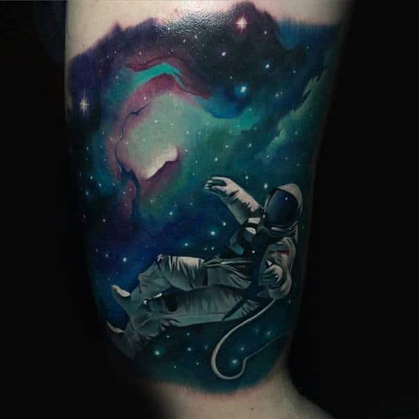 Guys Arms Floating Space Man Astronomy Tattoo