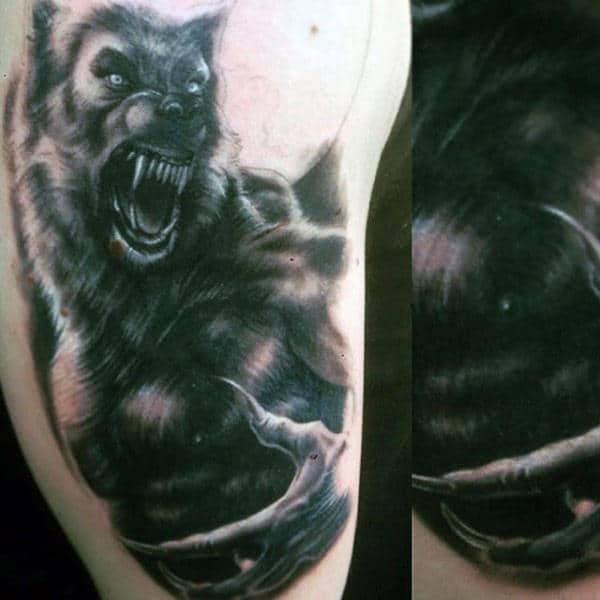 Guys Arms Frightening Black Werewolf Tattoo