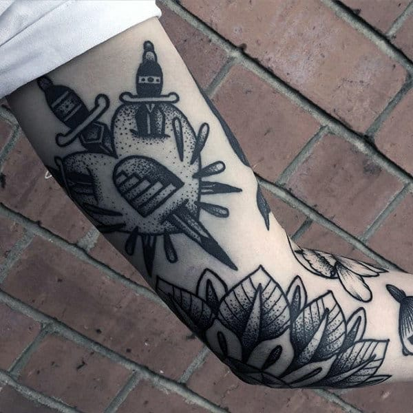Guys Arms Grey Dagger And Floral Tattoo