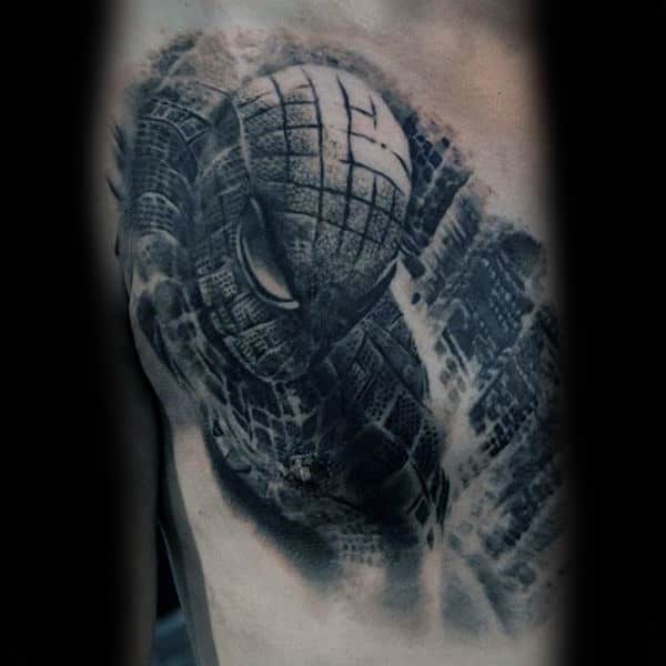Guys Arms Grey Spiderman Tattoos