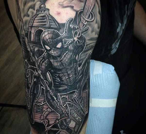 Guys Arms Greyish Spiderman Tattoo