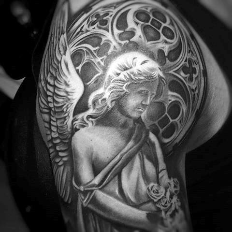 Guys Arms Guardian Angel With Roses Tattoo