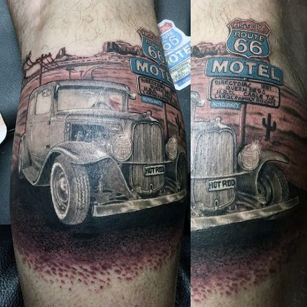 Guys Arms Hot Rod Direction 66 Tattoo