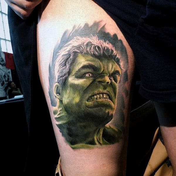 Guys Arms Impressive Hulk Tattoo