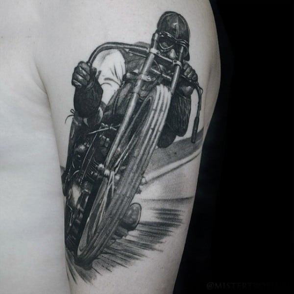 Guys Arms Interesting Tattoo Of Man Speeding On Motorbike