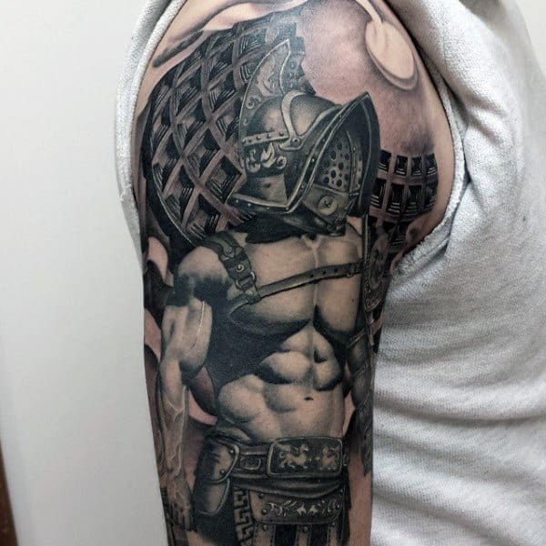 Guys Arms Interesting Well Built Warrior Tattoo