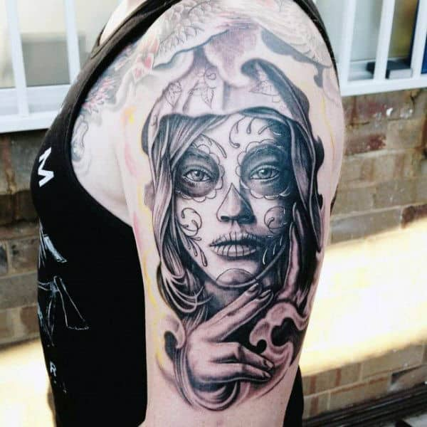 Guys Arms Lovely Doe Eyed Day Of The Dead Lady Tattoo