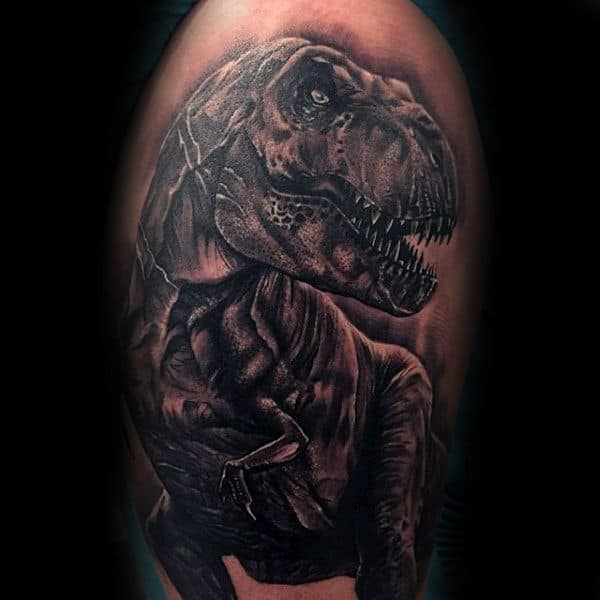 Guys Arms Majestic Dinosaur Tattoo