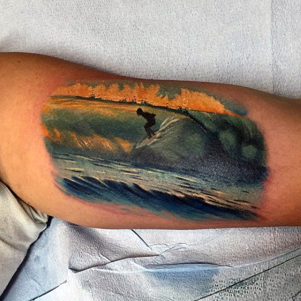 Guys Arms Man Surfing Tattoo