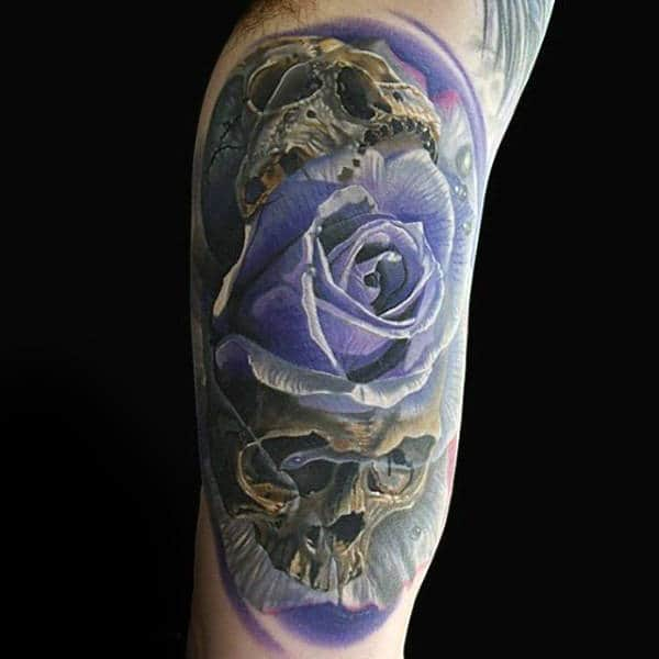 Guys Arms Manly Purple Rose And Skull Tattoo