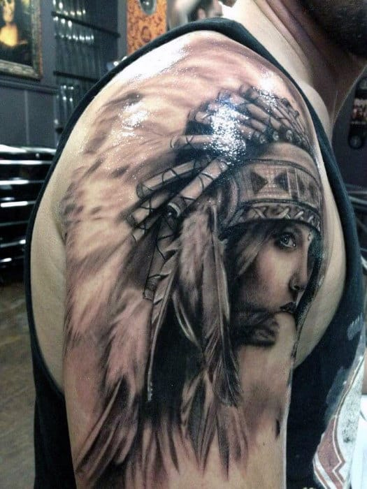 Guys Arms Native American Girl Tattoo