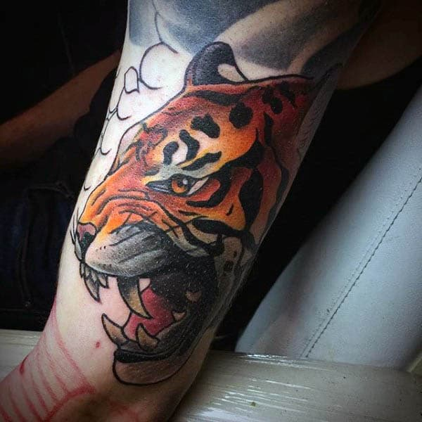 Guys Arms Neo Traditional Roaring Tiger Tattoo