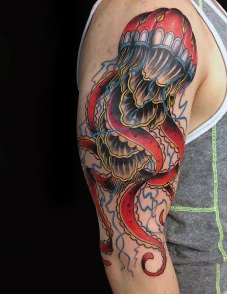 Guys Arms Oriental Designed Jellyfish Tattoo