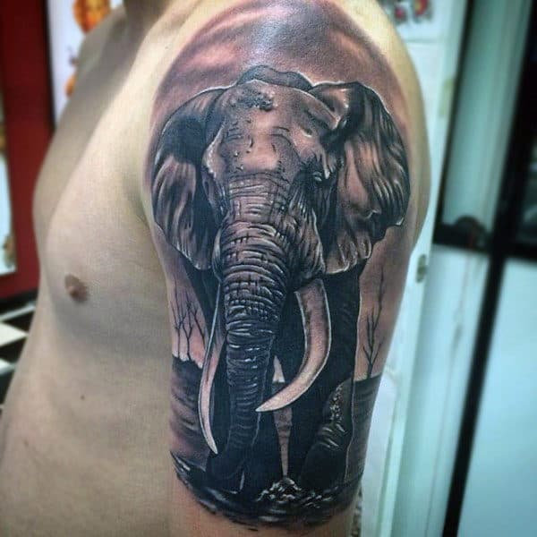 Guys Arms Realistic Elephant Tattoo