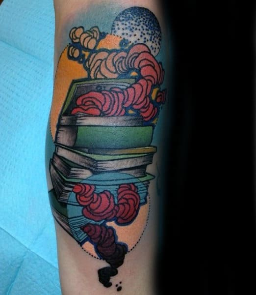 Guys Arms Red Bookworms And Books Tattoo