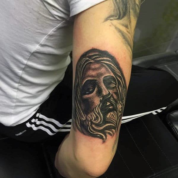 Guys Arms Religious Bearded Lord Tattoo