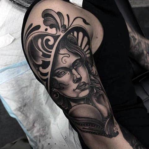 Guys Arms Sensual Lady In Black Neo Traditional Tattoo