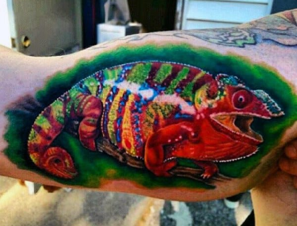 Guys Arms Shiny Painted Lizard Tattoo