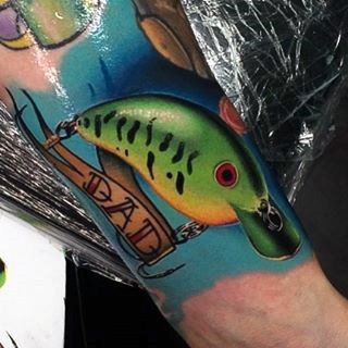 Guys Arms Shiny Shark And Dad Tattoo