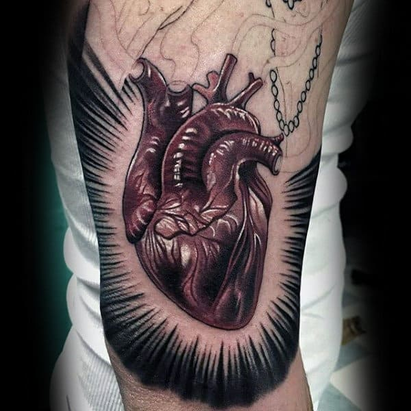 Guys Arms Sick Anatomy Of Heart Tattoo