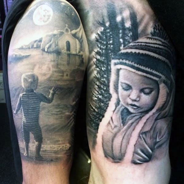 Guys Arms Snowy Wintery Black And Grey Tattoo