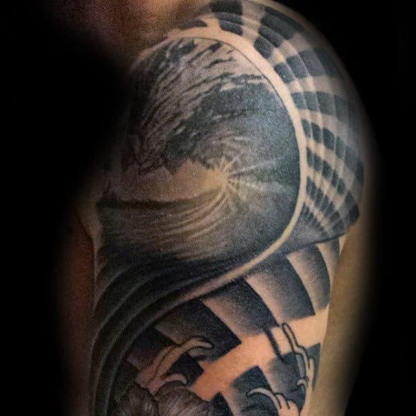 Guys Arms Spiralling Grey Surf Tattoo