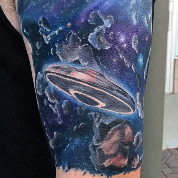 Guys Arms Ufo And Explosive Asteroids Tattoo