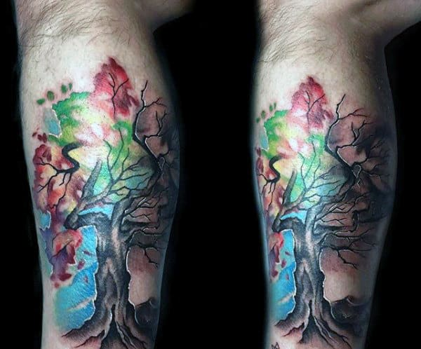 Guys Arms Watercolor Tree Tattoo
